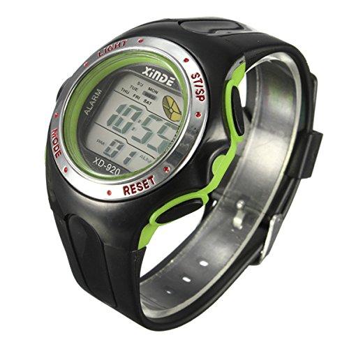 Familymall(TM) LED Digital Sport Armbanduhr Sportuhr Herren Kuelen Licht Light Wecker Datum Gruen