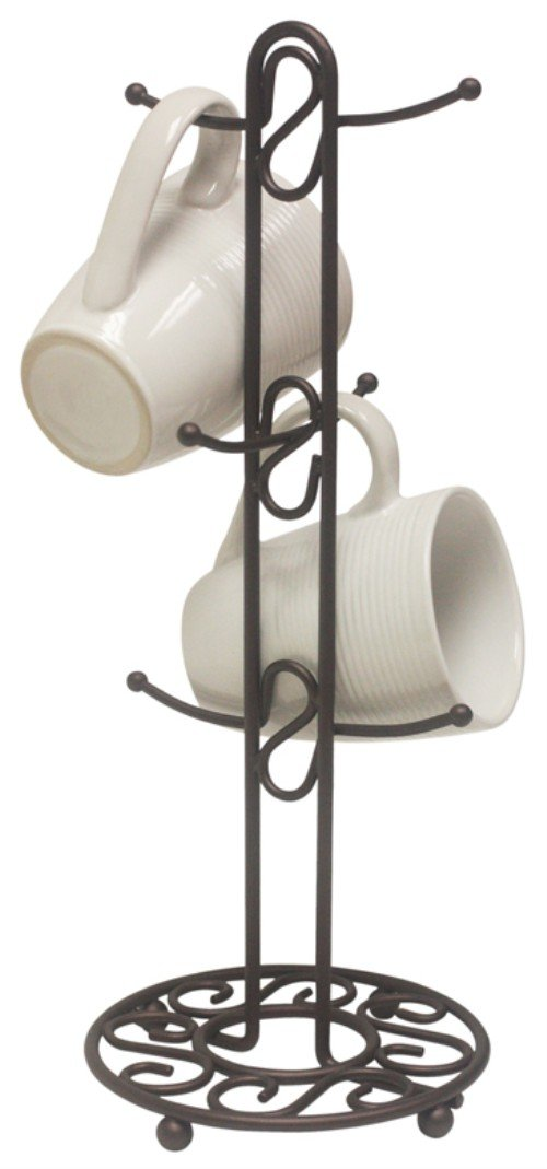 New 6 mug tree holder bronze kitchen rack storage coffee for Coffee mug display rack