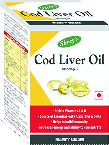 Shrey's Cod Liver Oil, Vitamins A & D - 100 Capsules (Immunity Booster)  available at amazon for Rs.199