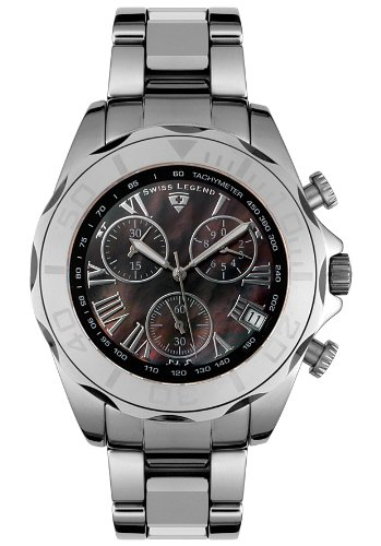 Swiss Legend Men's 18010-11 Tungsten Collection Chronograph Black Mother Of Pearl Watch