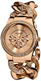 Akribos Xxiv Women's Ak558rg Twist Chain Quartz Multifunction Crystal Watch
