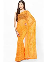 Rajasthani Sarees Ethnicwear Chiffon Bandhej Printed Saree For Women (RS28)