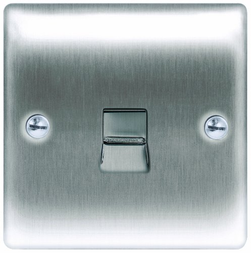 Masterplug NBSBTM1 1-Gang Metal Brushed Steel Telephone Socket Master