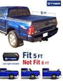 TYGER Tri-Fold Pickup Tonneau Cover Fits 05-15 Toyota Tacoma Double Cab (with/without utility track) Includes Utility Track Installatio kit 5 feet (60 inch) Trifold Truck Cargo Bed Tonno Cover (NOT For Stepside)
