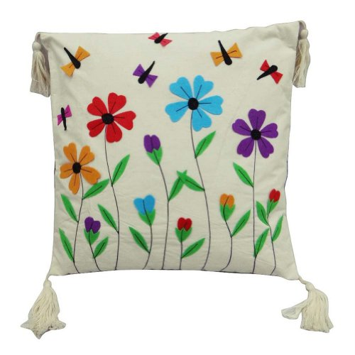 Home Décor Multicolor Pure Cotton Cushion Cover Floral Print Fringed Decorative Pillow Case Throw Indian Gift Art 15