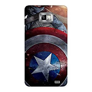 Radiant Round Captain Sheild Back Case Cover for Galaxy S2