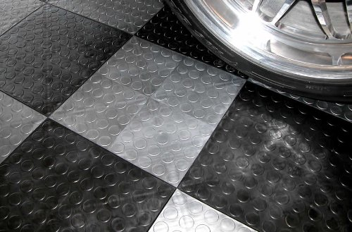 IncStores Coin Grid-Loc Tiles 12inx12inx1/2in Interlocking Garage Flooring tiles 24pack Graphite