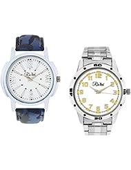 Ra'len Analog White And White Dial Men's Watch - GR-W-0024 (Pack Of 2)