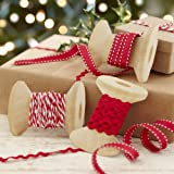 Ginger Ray Vintage Noel Christmas Ribbons Kit For Presents with Ric Rac & Butchers Parcel Twine, Mixed