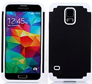 myLife Black and Bright White - Free Flex Series (2 Layer Neo Hybrid) Slim Armor Case for the NEW Galaxy S5 (5G) Smartphone by Samsung (External Rubberized Hard Shell Flex Piece + Internal Soft Silicone Flexible Bumper Gel)