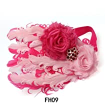 Lovely Ovely Unusal Cotton Baby Girls Infant Bow Peacock Headband Hairband Feather Flower Hair Band