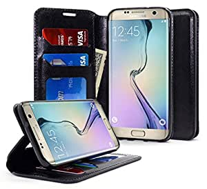Galaxy S7 Edge Case, NageBee - Galaxy S7 Edge Phone Case - Wallet Flip Case Pouch Cover Fold Stand case Premium Leather Wallet Flip Case for Samsung Galaxy S7 Edge (Fold Wallet Black)