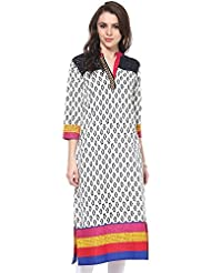 Indi Dori Women's White Black Block Printed Kurti