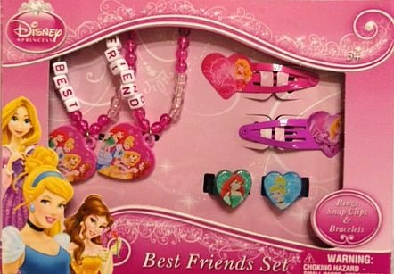 Disney Princess Best Friends Set Rings Hair Snap Clips & Bracelets