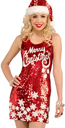 Forum Novelties Women's Plus Size Racy Red Sequin Merry Christmas Costume Top