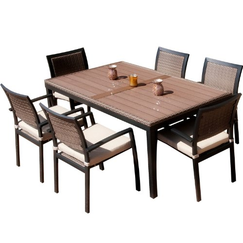 RST Brands OP-ALTS7-ZEN Dining Set Patio Furniture, 7-Piece photo