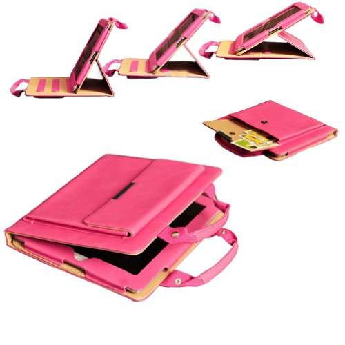 Field For You Classic Portable Handbag Stand Case For Apple Ipad 2 Ipad 3 Ipad 4 - With A Side-Bag For Your Phone,Key,Wallet,Cards / With Sleep/Wake Function - Hot Pink