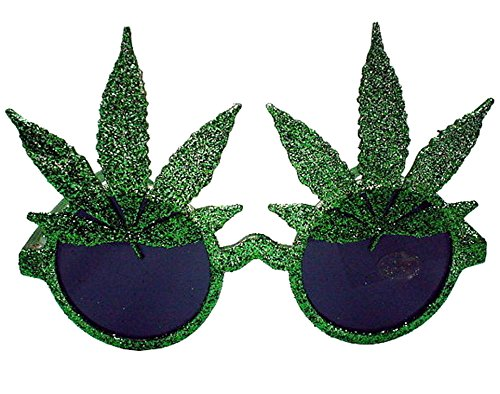 [1 Pair Green Glitter Marijuana Pot Leaves Novelty Party Glasses - Costume Dressup Sunglasses for Men or] (Party Glitters Costumes)