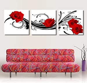 Amazon.com: Frameless Painting Red Rose Flower Canvas