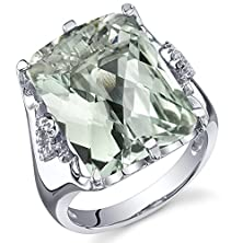 buy 11.00 Carats Green Amethyst Ring Sterling Silver Radiant Cut Size 6