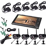 Docooler Digital Wireless DVR Security System with 7 Inch LCD Monitor SD Card Recording and 4 Long Range Night Vision Cameras