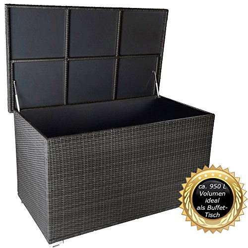 PREMIUM-Venezia-950-L-XXL-Kissenbox-es-regnet-nicht-rein-L-146-cm-x-B-83-cm-x-H-80-cm-ideal-als-Buffet-Tisch-nutzbar-mit-2-x-Gasdruckstodmpfer-und-eingebauter-Tischplatte-Farbe-Silber