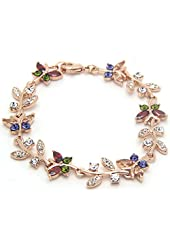 Women's AAA Zircon with Gold Plated Plant Link Bracelets Multicolor