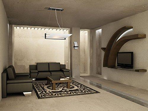 Lampadario a Sospensione VIRKE 50x40 cm Lampada 2 Luci Design Moderno Vetro Curvo Satinato Bianco e Legno Wengè cucina, soggiorno, camera