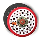 "3M Hookit Clean Sanding Low Profile Disc Pad 20353, Hook and Loop Attachment, 5"" Diameter x 3/8"" Thick, 5/16""-24 External Thread, 44 Holes, Red"