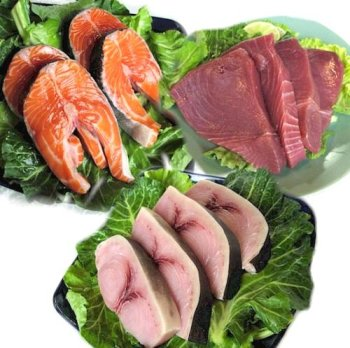 Fresh Fish Steak Sampler, 2 lbs. Each of Salmon, Sword, and Tuna Steaks