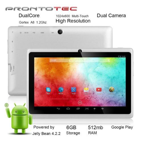 ProntoTec7インチ HDタブレット Android 4.2.2  HD 1024 x 600ピクセル  Cortex A8 1.2 GHzデュアル コア プロセッサ 512MB/6GBデュアル カメラ  HDMI  Gセンサー (ホワイト)