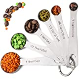 Palada 430 Stainless Steel Measuring Spoons, Set of 6, Engraved, Cute Ring Holder, for Dry and Liquid Ingredients. Best 430 Stainless Steel. It's Time to Upgrade Your Measuring Set.