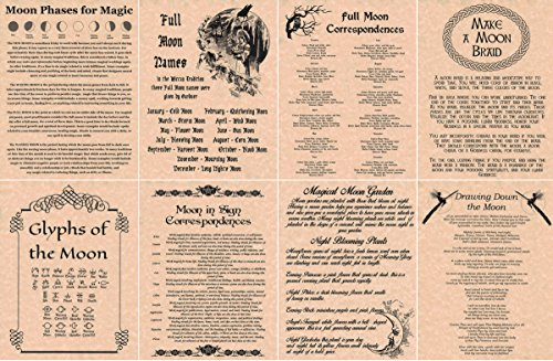 book-of-shadows-spell-pages-set-of-8-moon-pages-wicca-witchcraft-pagan-copper