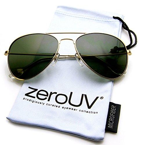 37ba378219 zeroUV - Original Classic Metal Standard Aviator Sunglasses - Nickel Plated  Frame