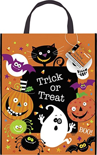 "Large Plastic Spooky Smiles Halloween Favor Bag, 15"" x 12"" - 1"