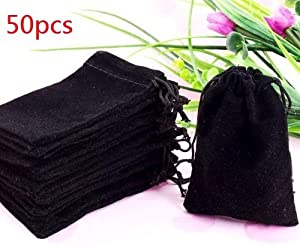 "50 Pieces Wholesale Lot - Black Velvet Cloth Jewelry Pouches / Drawstring Bags 3"" X 4"""