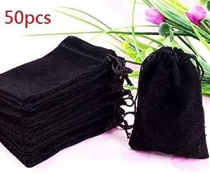 "50 Pieces Wholesale Lot - Black Velvet Cloth Jewelry Pouches / Drawstring Bags 3"" X 4"""