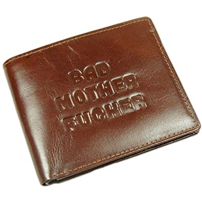 """Official Pulp Fiction """"Bad Mother"""" Brown Leather Bi-fold Wallet - Boxed"""
