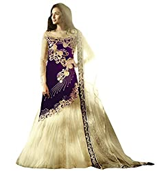 Justkartit Women's Blue & Off-White Colour Velvet & Net Zari Embroidery Wedding Wear Dress Material / Ceremony Wear Dress Material (With Dual Bottom - Lehenga & Palazzo Pant)