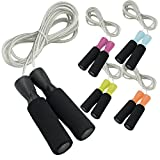 Premium Quality PVC Foam Padded Cable Wire Speed Jump Skipping Rope - For Sports, Cardio, Fitness Training, Athletic...