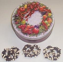 Scott\'s Cakes 1 lb. Dark Chocolate Covered Pretzel with Chocolate Chips & White Chocolate Chips in a Wreath Tin