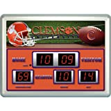 19 NCAA Clemson University Tigers Scoreboard Wall Clock with Date and Temperature