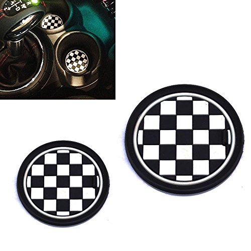 ijdmtoy-2-73mm-black-white-checkered-checkerboard-pattern-soft-silicone-cup-holder-coasters-for-mini