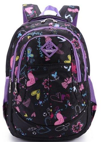 Eshops Backpacks for Girls School Bags for College Waterproof Outdoor Travel Backpack for Women (Black)