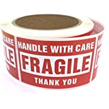 Fragile - Handle with Care Shipping Labels - 2'' x 3'' , 500 Pieces / Roll © enKo Products