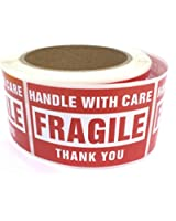 Fragile - Handle With Care Shipping Labels Stickers - 2'' x 3'' (500 Labels / Roll) EnKo Products