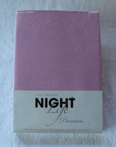NightLife Jersey Spannbettlaken Farbe blütenrosa rosa Größe 180 x 190 bis 200 x 200 cm Spannbettuch Spannlaken mit Rundumgummi 100% Baumwolle