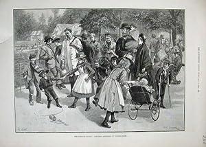 1890 Bambini che Giocano il Passeggino del Parco di Londra Port Victoria