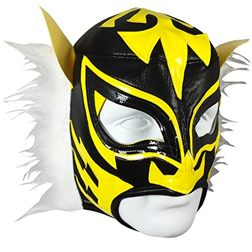 WHITE TIGER Adult Lucha Libre Wrestling Mask (pro-fit) Costume Wear - Black/Yellow