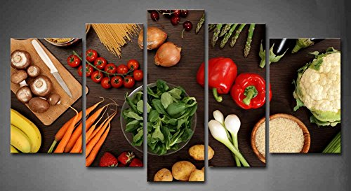 5 Panel Wall Art Fresh Look Color Healthy Eating Of A Table Top Full Of Fresh Vegetables Fruit And Other Healthy Foods Painting Pictures Print On Canvas Fruit The Picture For Home Modern Decoration piece (Stretched By Wooden Frame,Ready To Hang) (Fruit And Vegetables Posters compare prices)